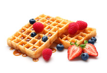 Yummy Waffles With Berries And...