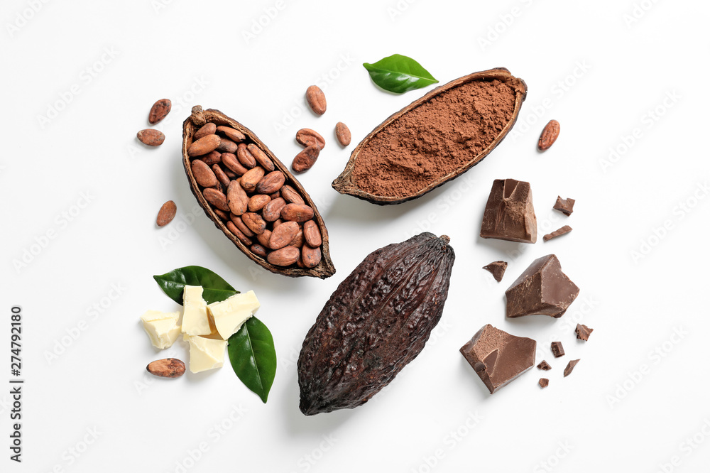 Fototapety, obrazy: Composition with cocoa products on white background, top view