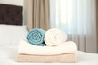 canvas print picture Soft clean terry towels on bed in room