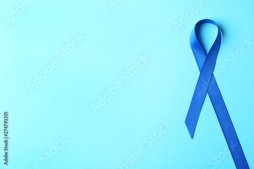 Blue Ribbon On Color Background Top View With Space For Text Colon Cancer Awareness Concept Buy This Stock Photo And Explore Similar Images At Adobe Stock Adobe Stock