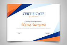 Certificate Template Banner With Polygonal Geometric Shape For Print Template With Orange Dark Blue And White Clean Modern - Vector