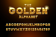 Vector Golden Glossy Three Dimensional Font Effect. Yellow Metal Typeface Withy Golden Bars And Stars Inside. Luxury Alphabet Design For Casino, Premium Business, Videogames And Other Concepts