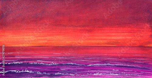 Foto auf AluDibond Rot Orange sunset in ocean drawn in gouache