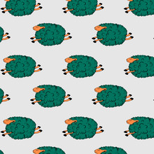 Flying Green Sheep On A Grey Background. Dancing Sheep. Soaring Sheep. Seamless Pattern With Sheeps. Vector Illustration.