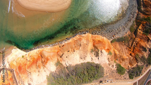 Drone aerial of the spectacular South Australian Southport Onkaparinga River mouth estuary and coastline Canvas Print
