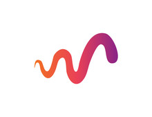 Gradient Wave. Colorful Abstract Line. Wave Isolated Trandy Logotype.