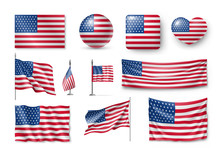 Various American Flags Set Isolated On White Background. Realistic Waving American Flag On Pole, Table Flag And Different Shapes Labels. Patriotic USA 3d Rendering Symbols Vector Illustration.