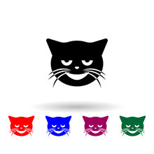 Normal Smiling Imp Cat Multi Color Icon. Elements Of Cat Smile Set. Simple Icon For Websites, Web Design, Mobile App, Info Graphics