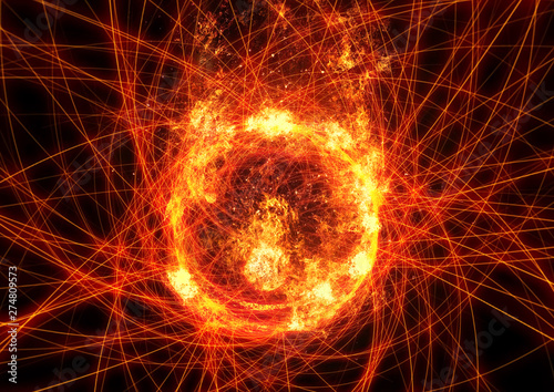 Valokuvatapetti 抽象的な炎の円