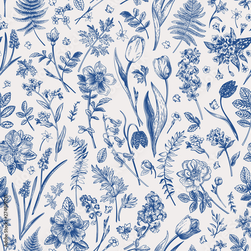 Fotografía Seamless pattern with garden flowers.