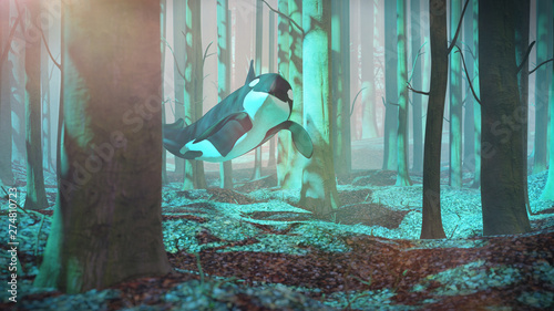 Vászonkép killer whale swimming in forest, orca flying in foggy landscape, surreal 3d rend