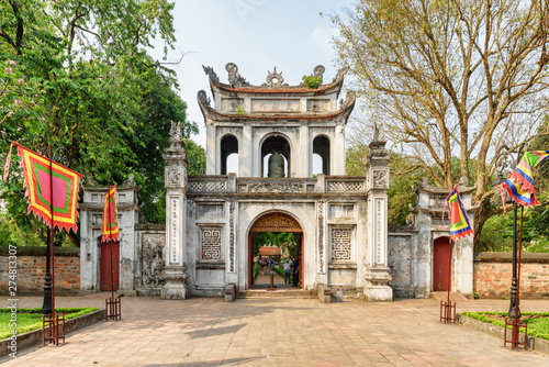 Main gate of the Temple of Literature in Hanoi, Vietnam