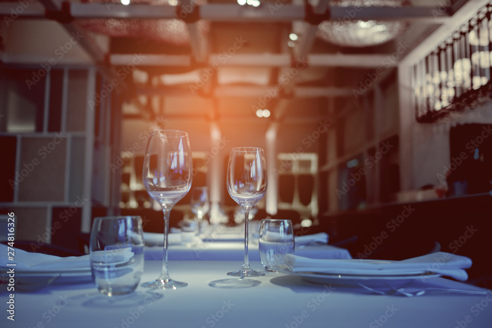 Fototapety, obrazy: empty glasses wine in restaurant, glass water, campaign glass