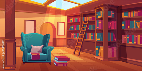 Place for reading books, home library interior, empty room with wooden bookshelves, ladder, cozy armchair with pillow, glass window on roof, literature storage, athenaeum Wallpaper Mural