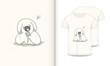 stock vector cute dog cartoon hand drawn vector illustration and mockup t shirt print kids wear fashion-1