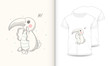 stock vector cute parrot cartoon hand drawn vector illustration and mockup t shirt print kids wear fashion-1