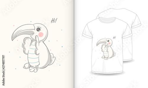 Fototapety, obrazy: stock vector cute parrot cartoon hand drawn vector illustration and mockup t shirt print kids wear fashion-1