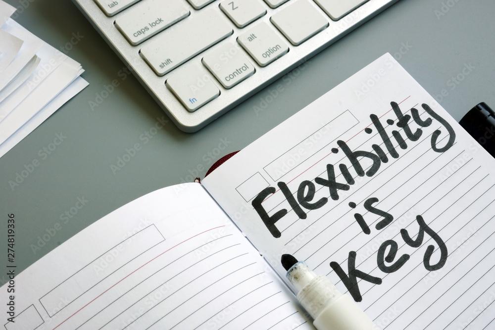 Fototapeta Handwritten sign flexibility in business is key in the note.