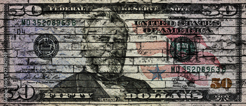 Foto auf AluDibond Graffiti US Dollar banknote on a brick wall