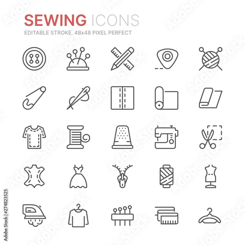 Obraz na plátne Collection of sewing related line icons