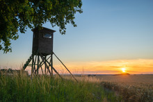 Hunting Tower Standing In A Field With A Lone Oak,sunset Time