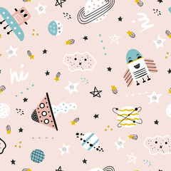 Hand drawn space elements seamless pattern. Space doodle illustration. Seamless pattern with cartoon space rockets, planets and stars. Space background.