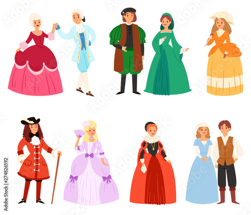 Photo Renaissance clothing vector woman man character in medieval fashion vintage dres