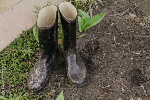 Canvas Prints Countryside Rubber boots are in garden
