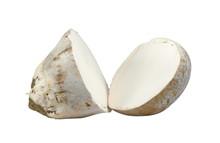Sliced Mushrooms Common Puffball (Lycoperdon Perlatum) Isolated On White Background.
