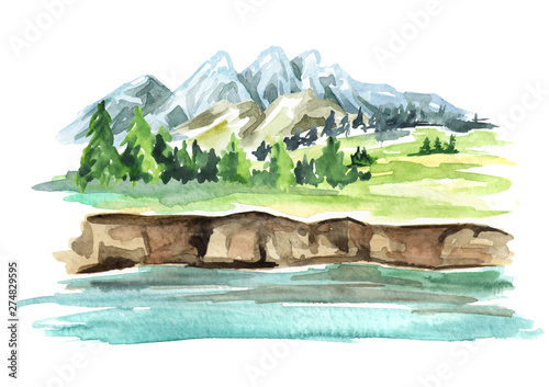 Foto auf AluDibond Weiß Landscape with river and mountains. Watercolor hand drawn illustration