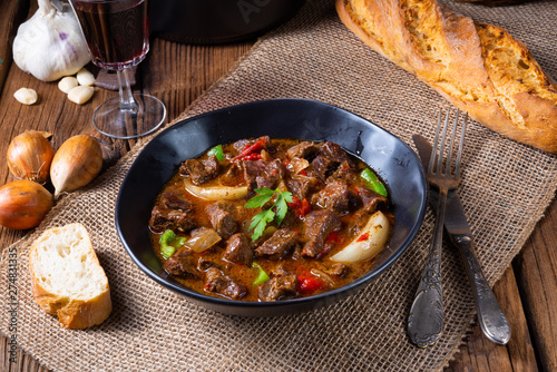 Poster Pays d Europe classic beef goulash with peppers and onions