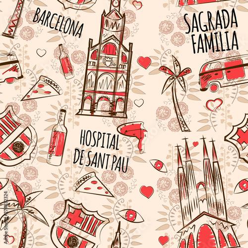 Photo  barcelona pattern seamless design graphic