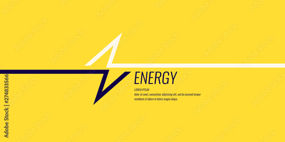 Fototapety, obrazy: Linear image of lightning on a flat yellow background with text.