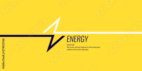 Fotografia Linear image of lightning on a flat yellow background with text.