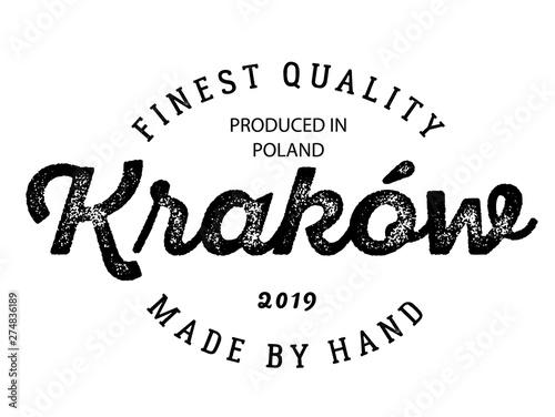Fototapeta krakow production label on white obraz