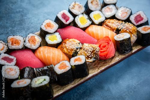 Poster Sushi bar Big set of colorful sushi rolls