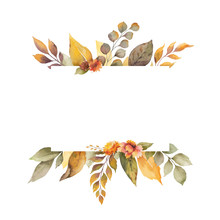 Watercolor Vector Autumn Banner With Leaves, Flowers And Branches Isolated On White Background.