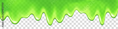 Green slime drip isolated on transparent background. Fototapet