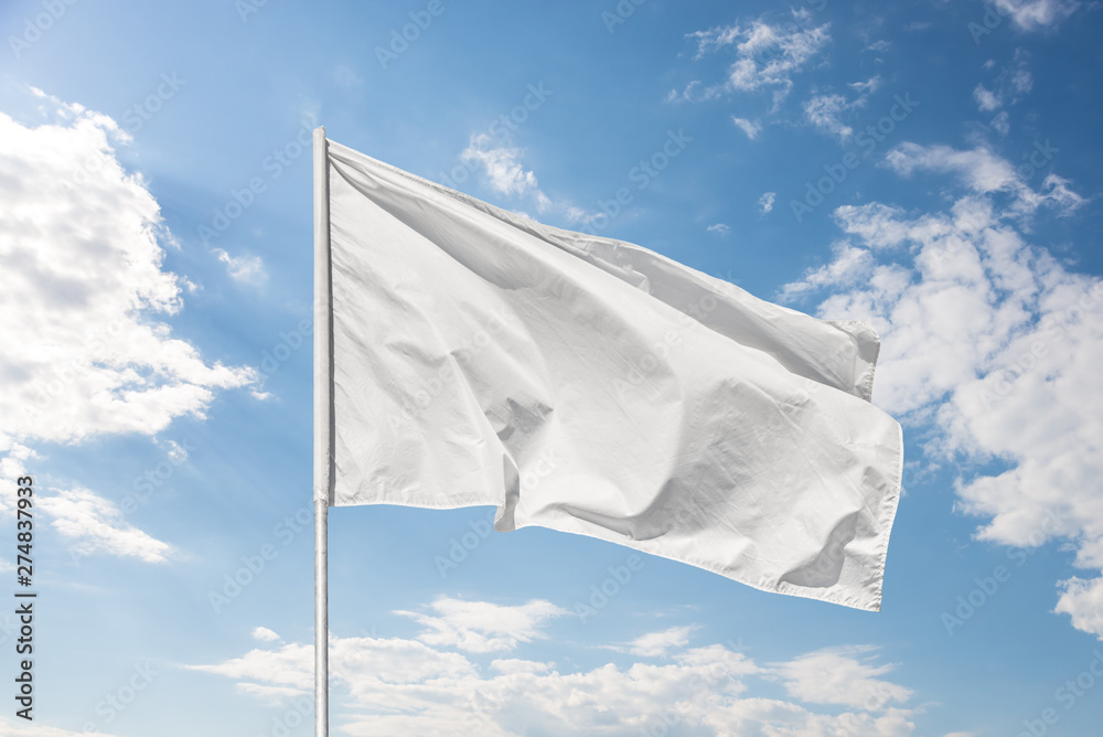 Fototapety, obrazy: White flag against the blue sky