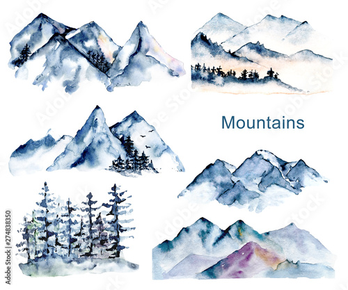 Fototapeta Set with mountains and forest, nature landscapes. Watercolor hand painting sketch scenery. Perfectly for tourism and outdoor design. Illustrations isolated on white background.  obraz