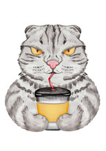 Funny Cat With Coffee Cup. Watercolor Hand Drawn Cat Illustration Series