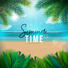 Vector Summer Time Illustration With Palm Leaves And Typography Letter On Blue Ocean Landscape Background. Summer Vacation Holiday Design For Banner, Flyer, Invitation, Brochure, Party Poster Or