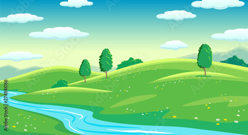 Colorful summer bright fields with river landscape, green grass and trees, cloudy sunrise sky
