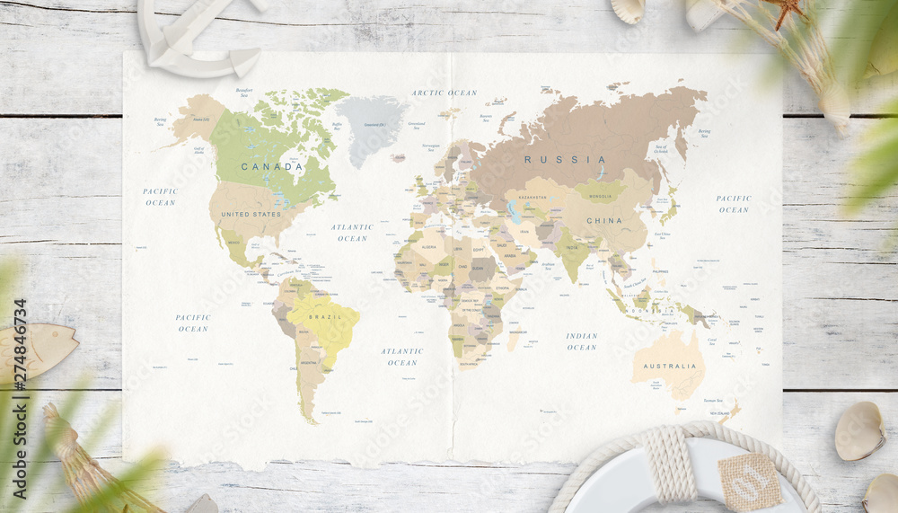 Fototapety, obrazy: The map of the world is surrounded by symbols from the sea in the shade of palm trees. Top view, flat lay. World travel concept.
