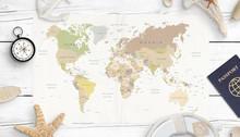 World Map, Compass, Passport A...