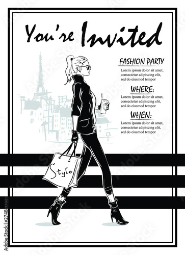 Party Invitations with fashion woman in sketch style. Custom invitations for any party. Wall mural