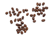 Top View Of Coffee Beans Isola...