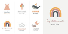 Baby, Children, Little Kids Cards, Posters In Simple, Clean Modern Style. Perfect For Nursery Decor, Fashion Design