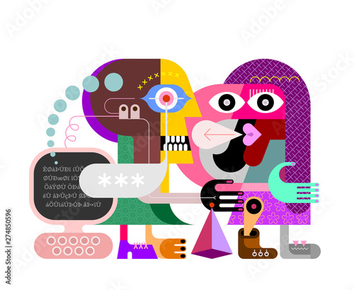 Fotoposter Abstractie Art Two Persons and Personal Computer vector illustration