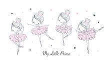 Cartoon Dancing Ballerina Vect...